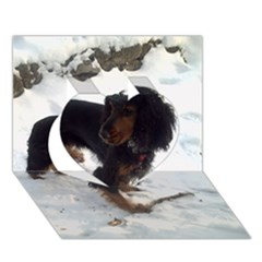 Black Tri English Cocker Spaniel In Snow Heart 3D Greeting Card (7x5)