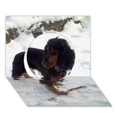 Black Tri English Cocker Spaniel In Snow Circle 3D Greeting Card (7x5)