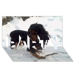 Black Tri English Cocker Spaniel In Snow PARTY 3D Greeting Card (8x4)