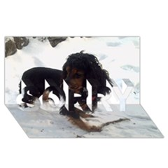Black Tri English Cocker Spaniel In Snow SORRY 3D Greeting Card (8x4)