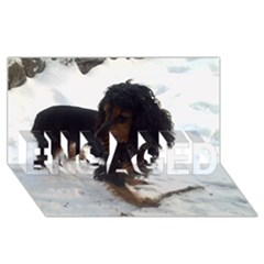 Black Tri English Cocker Spaniel In Snow ENGAGED 3D Greeting Card (8x4)