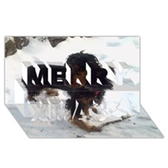 Black Tri English Cocker Spaniel In Snow Merry Xmas 3D Greeting Card (8x4)