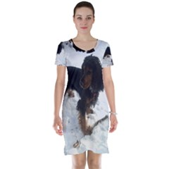 Black Tri English Cocker Spaniel In Snow Short Sleeve Nightdresses