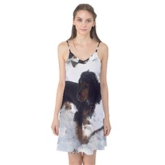 Black Tri English Cocker Spaniel In Snow Camis Nightgown