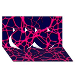 Hot Web Pink Twin Hearts 3D Greeting Card (8x4)