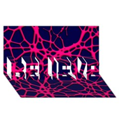 Hot Web Pink BELIEVE 3D Greeting Card (8x4)