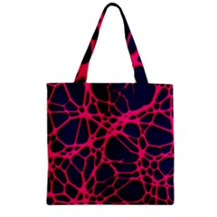 Hot Web Pink Zipper Grocery Tote Bags