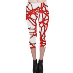 Hot Web Red Capri Leggings