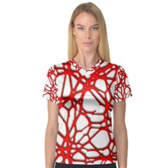 Hot Web Red Women s V-Neck Sport Mesh Tee
