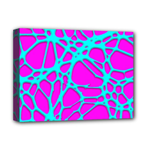 Hot Web Turqoise Pink Deluxe Canvas 16  X 12