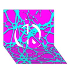 Hot Web Turqoise Pink Peace Sign 3D Greeting Card (7x5)