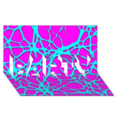 Hot Web Turqoise Pink PARTY 3D Greeting Card (8x4)