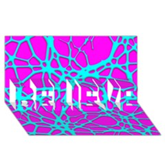 Hot Web Turqoise Pink Believe 3d Greeting Card (8x4)
