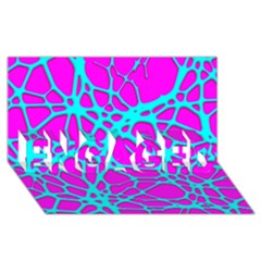 Hot Web Turqoise Pink ENGAGED 3D Greeting Card (8x4)