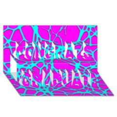 Hot Web Turqoise Pink Congrats Graduate 3D Greeting Card (8x4)