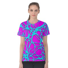 Hot Web Turqoise Pink Women s Cotton Tees