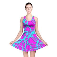 Hot Web Turqoise Pink Reversible Skater Dresses