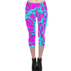 Hot Web Turqoise Pink Capri Leggings