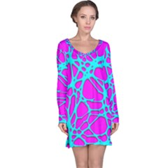 Hot Web Turqoise Pink Long Sleeve Nightdresses