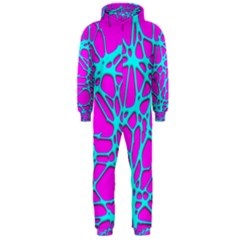 Hot Web Turqoise Pink Hooded Jumpsuit (Men)