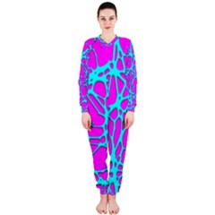Hot Web Turqoise Pink OnePiece Jumpsuit (Ladies)