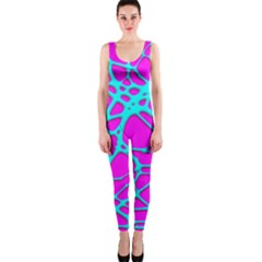 Hot Web Turqoise Pink OnePiece Catsuits