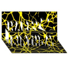 Hot Web Yellow Happy Birthday 3D Greeting Card (8x4)