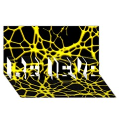 Hot Web Yellow BELIEVE 3D Greeting Card (8x4)