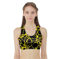 Hot Web Yellow Women s Sports Bra With Border