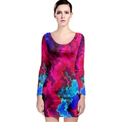 Psychedelic Storm Long Sleeve Bodycon Dresses