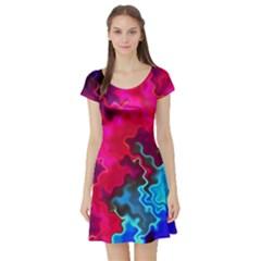 Psychedelic Storm Short Sleeve Skater Dresses