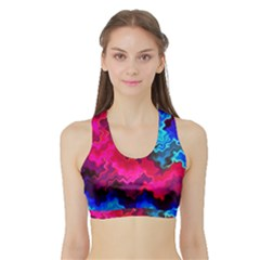 Psychedelic Storm Women s Sports Bra with Border