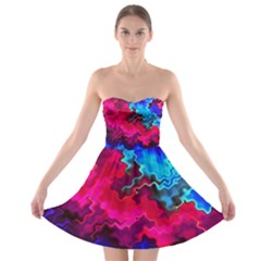Psychedelic Storm Strapless Bra Top Dress