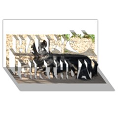 Black German Shepherd Laying Happy Birthday 3d Greeting Card (8x4)