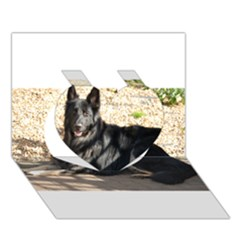 Black German Shepherd Laying Heart 3D Greeting Card (7x5)