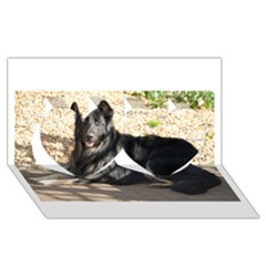 Black German Shepherd Laying Twin Hearts 3D Greeting Card (8x4)