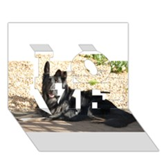 Black German Shepherd Laying LOVE 3D Greeting Card (7x5)