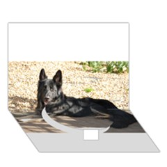 Black German Shepherd Laying Circle Bottom 3D Greeting Card (7x5)