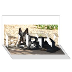 Black German Shepherd Laying PARTY 3D Greeting Card (8x4)
