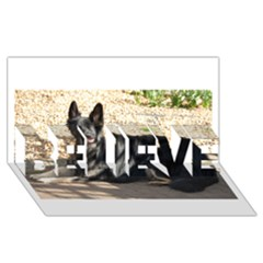 Black German Shepherd Laying BELIEVE 3D Greeting Card (8x4)