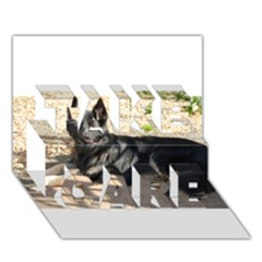 Black German Shepherd Laying TAKE CARE 3D Greeting Card (7x5)