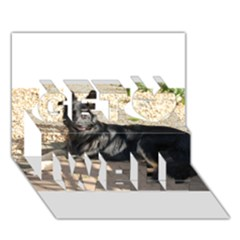 Black German Shepherd Laying Get Well 3D Greeting Card (7x5)