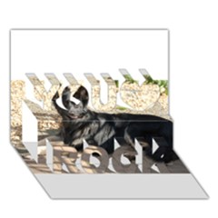Black German Shepherd Laying You Rock 3D Greeting Card (7x5)