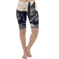 Black German Shepherd Laying Cropped Leggings