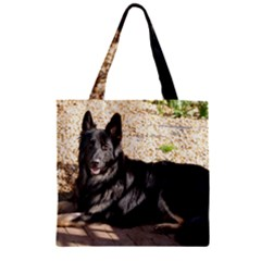 Black German Shepherd Laying Zipper Grocery Tote Bags