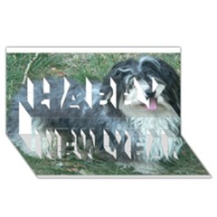 Havanese Full Happy New Year 3d Greeting Card (8x4)