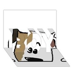 Peeping Bulldog BOY 3D Greeting Card (7x5)