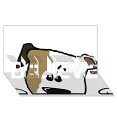 Peeping Bulldog BELIEVE 3D Greeting Card (8x4)