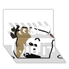 Peeping Bulldog You Did It 3D Greeting Card (7x5)