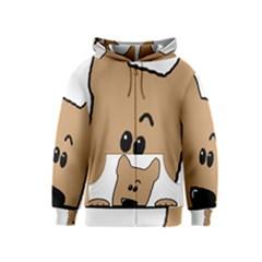 Peeping Yorkshire terrier Kids Zipper Hoodies